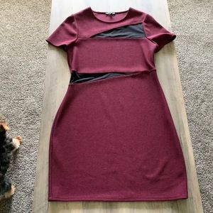 Express dress size 12 mesh burgundy maroon